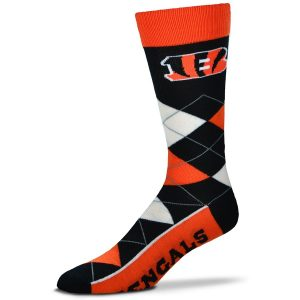 Cincinnati Bengals For Bare Feet Argyle Crew Socks