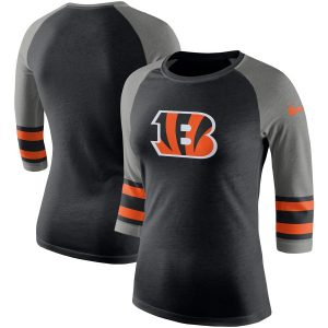 Cincinnati Bengals Nike Women's Stripe 3/4-Sleeve Raglan Tri-Blend T-Shirt