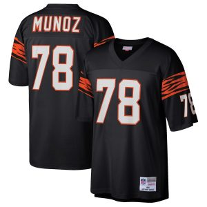 Men's Cincinnati Bengals Anthony Munoz Mitchell & Ness Black 1989 Retired Player Replica Jersey