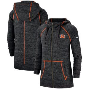 Cincinnati Bengals Nike Women's Gym Vintage Raglan Full-Zip Hoodie – Heathered Black