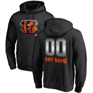 Cincinnati Bengals Black Personalized Midnight Mascot Pullover Hoodie